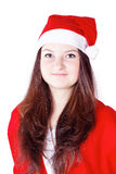 Pretty young lady dressed as Santa Claus Stock Photo