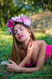 Pretty young lady with long hair wearing wreath Stock Photography