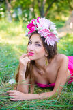 Pretty young lady with long hair in wreath Royalty Free Stock Photo