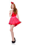 The pretty young lady in mini pink dress isolated Stock Photos