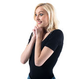 Pretty young lady surprised  amazed is super Royalty Free Stock Photos