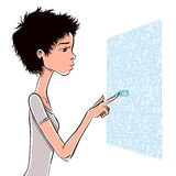 Pretty young lady using new technologies. Royalty Free Stock Photo