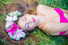 Pretty young lady in wreath with closed eyes Royalty Free Stock Image