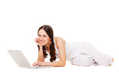 Pretty young with laptop Stock Image