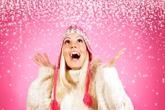 Pretty young light hair female model, dressed in winter clothing Royalty Free Stock Image