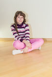 Pretty young little girl in pink jeans Stock Photography