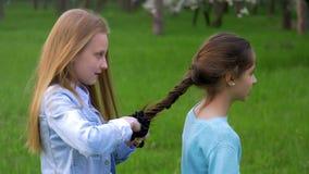 Pretty young little girl plaits braid of her little girlfriend. Braiding the braids on head. Pretty young little girl plaits the braid of her little girlfriend stock video footage