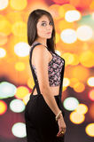 Pretty young long haired brunette girl posing Royalty Free Stock Photos