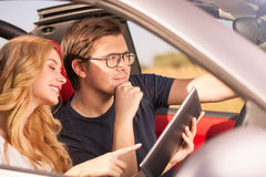 Pretty young loving couple is traveling by Stock Photo