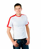 Pretty young man on white background Stock Images