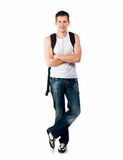 Pretty young man on white background. Studio shot stock photography