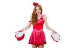 Pretty young model in mini pink dress holding gift Stock Image