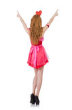 Pretty young model in mini pink dress isolated on Stock Images