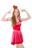 Pretty young model in mini pink dress isolated on Royalty Free Stock Images