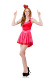 Pretty young model in mini pink dress isolated on Royalty Free Stock Photography