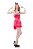 Pretty young model in mini pink dress isolated on Stock Photos