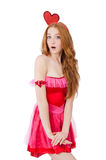 Pretty young model in mini pink dress isolated on Royalty Free Stock Image