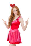 Pretty young model in mini pink dress isolated on Stock Photography