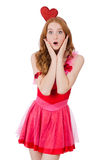 The pretty young model in mini pink dress isolated Stock Photo
