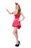 The pretty young model in mini pink dress isolated Stock Images