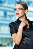 Pretty Young Office Woman in Black Outfit Stock Image