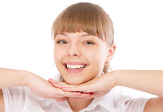 Pretty young office woman with palm near face Stock Photography