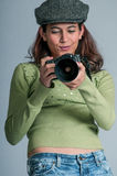 Pretty Young Paparazzi with Camera Stock Photo
