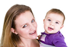 Pretty Young People. Pretty young mother and her cute baby posing Royalty Free Stock Image