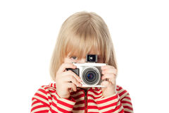 Pretty young photographer Stock Photo