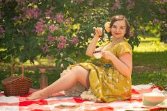 Pretty young pin up girl having rest on the nature. happy slim young woman wearing vintage dress sitting on the tartan plaid and r royalty free stock photo
