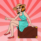 Pretty Young Pop Art Woman Traveler Hitchhiking Sitting on Suitcase. Vector illustration Stock Photography