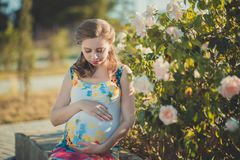 Pretty young pregnant lady woman with huge beautifull green eyes and pout red lips wearing dark pink dress with blue skirt holding. Hands on her tummy awaiting Stock Photos