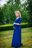 Pretty young pregnant woman in blue dress with curly hair. Pretty young pregnant woman in blue dress with long blond curly hair holding her belly and looking at stock photo