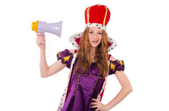 Pretty young queen with megaphone isolated on Stock Image