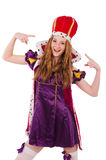 Pretty young queen in purple dress isolated on Royalty Free Stock Photo