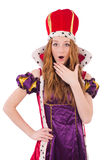 Pretty young queen in purple dress isolated on Stock Photography