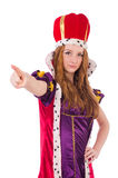 The pretty young queen in purple dress isolated on. Pretty young queen in purple dress isolated on white Royalty Free Stock Photography