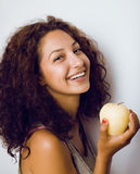 Pretty young real tenage girl eating apple close Stock Photos