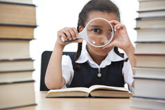 Pretty Young School Girl Reading A Book Stock Photography