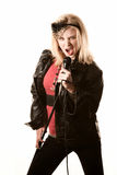 Pretty young singer or comedian with microphone Royalty Free Stock Photo