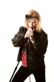 Pretty young singer or comedian with microphone Stock Photo