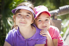 Pretty Young Sisters Portrait Outside Stock Photography
