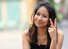 Pretty young smiling asian woman Royalty Free Stock Images