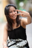 Pretty young smiling asian woman Stock Photos
