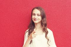 Pretty young smiling girl royalty free stock photography
