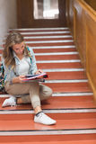 Pretty young student sitting on stairs looking at camera Stock Photos