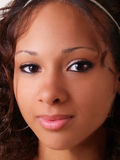 Pretty young teen black girl closeup portrait. Young pretty black woman portrait teen girl Royalty Free Stock Image