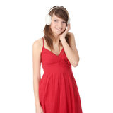 Pretty young teen girl wearing white earmuff Royalty Free Stock Photography