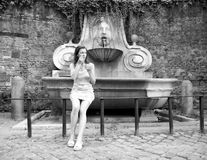 Pretty young tourist woman with ice cream Rome Stock Images
