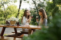 Pretty young two women sitting outdoors in park drinking wine. Picture of pretty young two women sitting outdoors in park drinking wine. Looking camera royalty free stock images